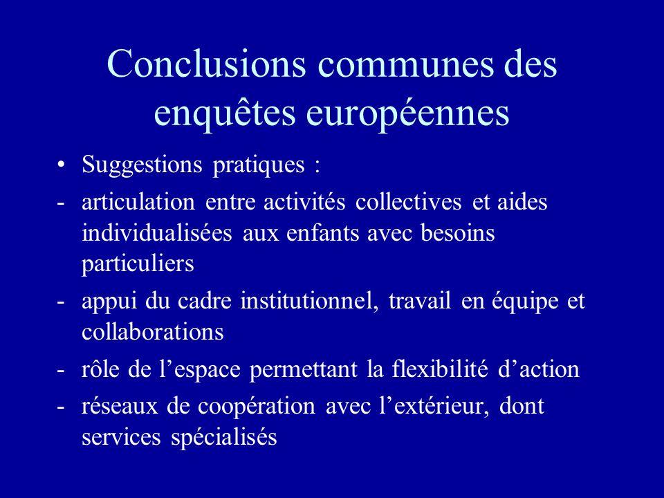 Conclusions communes des enquêtes européennes