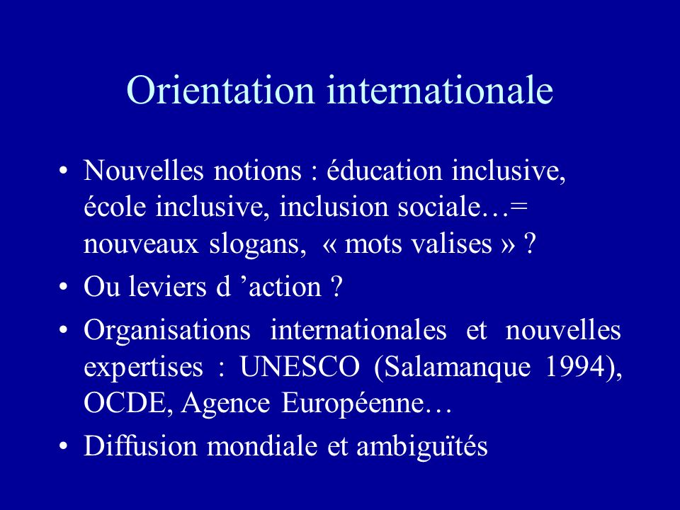 Orientation internationale