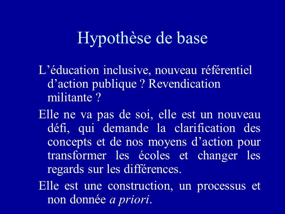 Hypothèse de base L'éducation inclusive, nouveau référentiel d'action publique Revendication militante