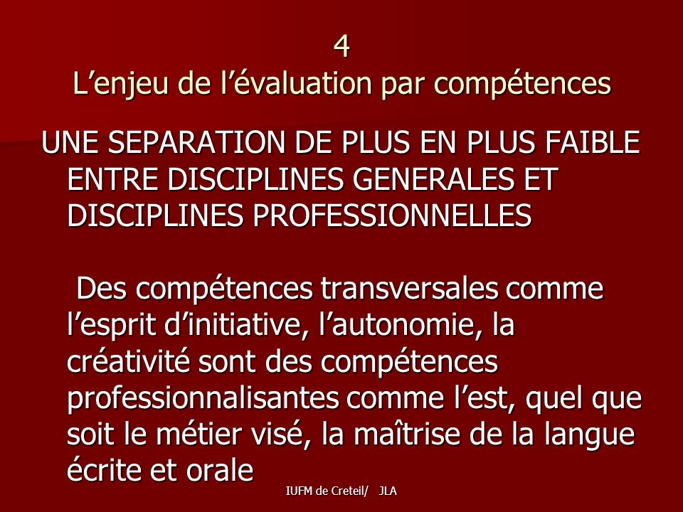 4 L'enjeu de l'évaluation par compétences