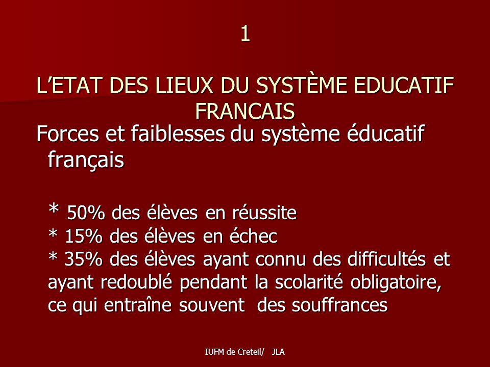 1 L'ETAT DES LIEUX DU SYSTÈME EDUCATIF FRANCAIS