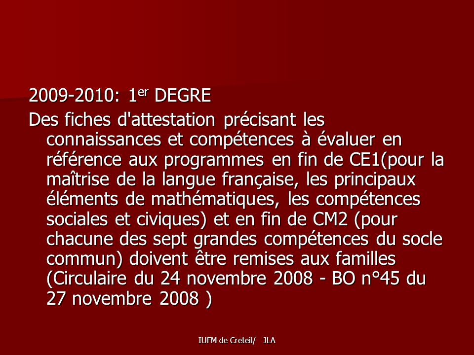 2009-2010: 1er DEGRE