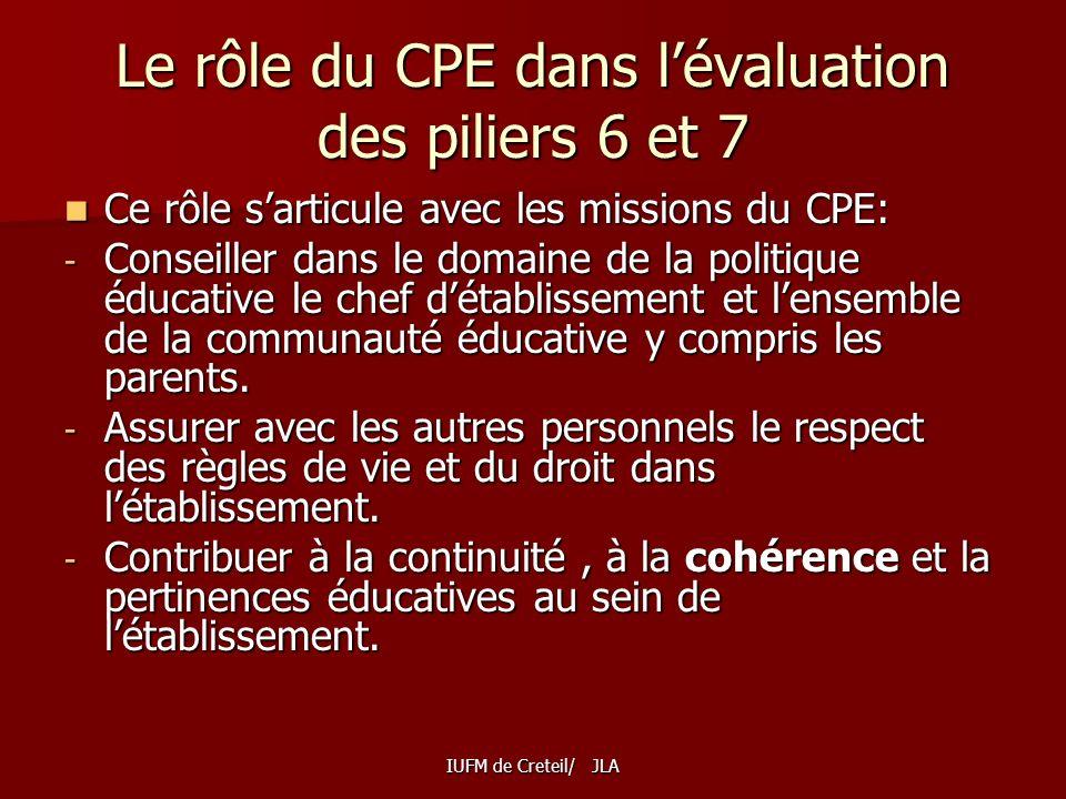 Le rôle du CPE dans l'évaluation des piliers 6 et 7