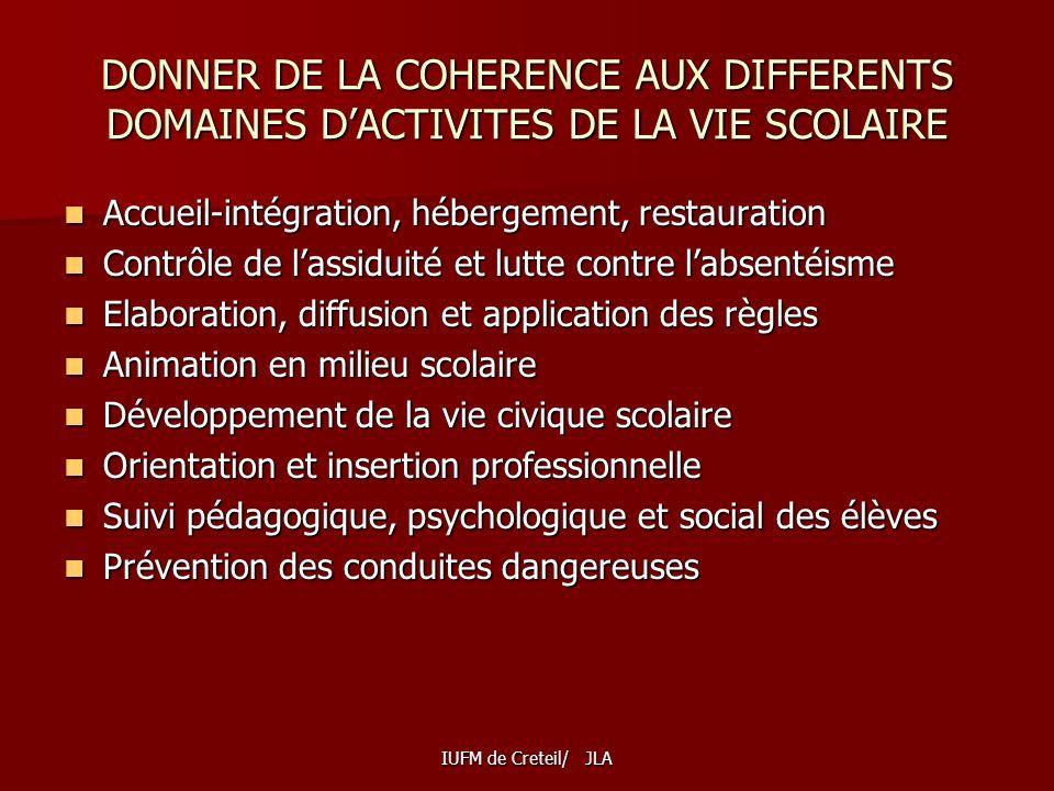 DONNER DE LA COHERENCE AUX DIFFERENTS DOMAINES D'ACTIVITES DE LA VIE SCOLAIRE