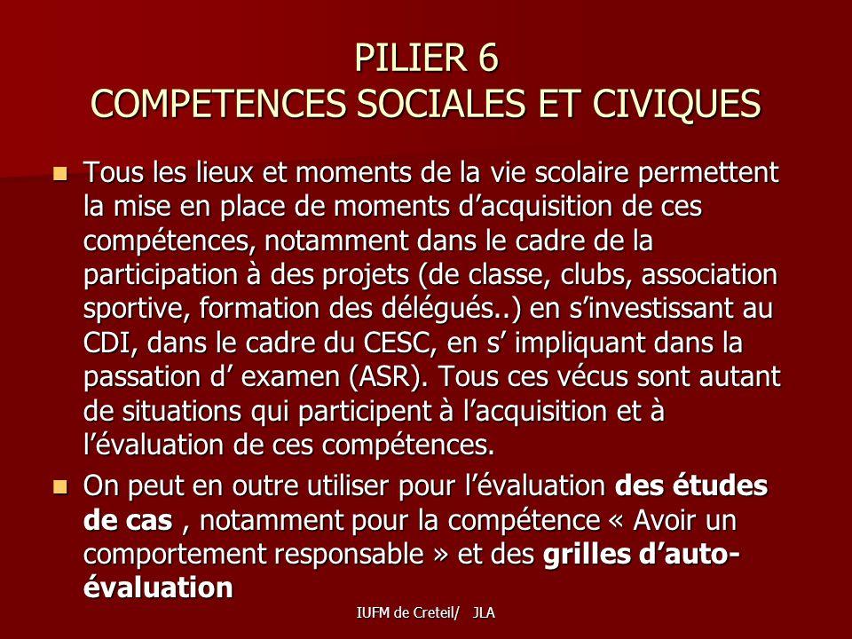 PILIER 6 COMPETENCES SOCIALES ET CIVIQUES