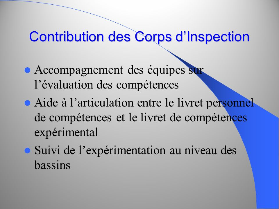 Contribution des Corps d'Inspection