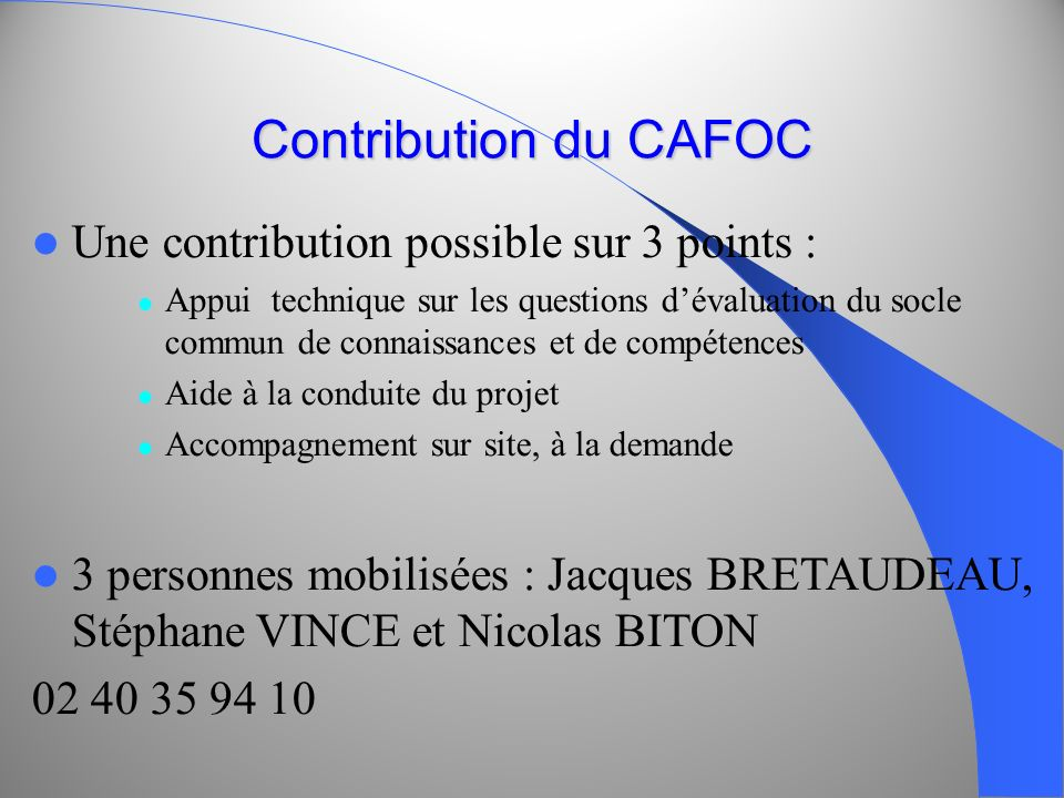 Contribution du CAFOC Une contribution possible sur 3 points :