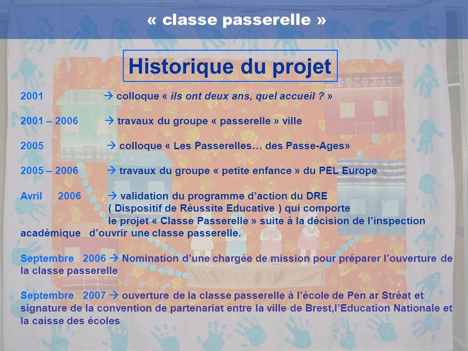 Historique du projet « classe passerelle »