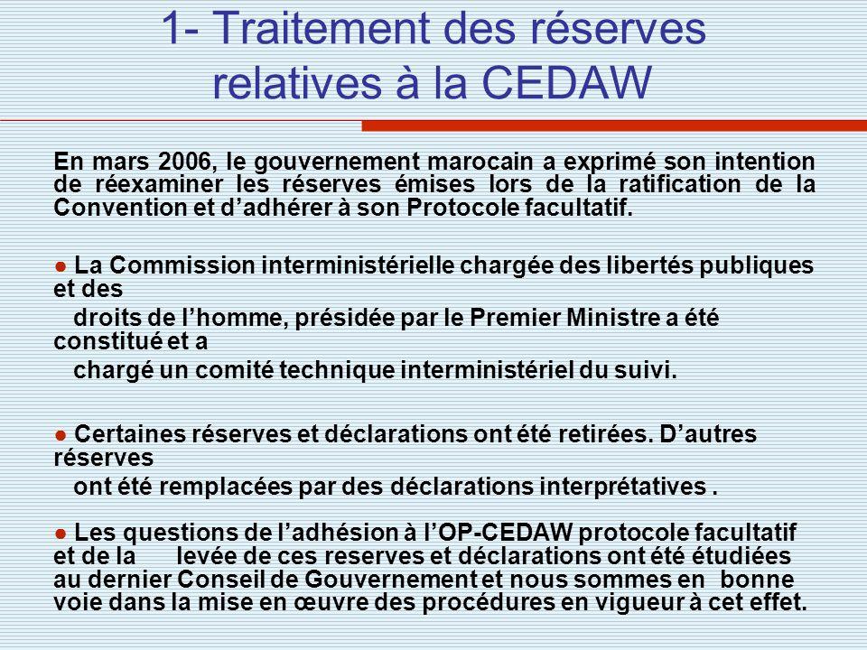 1- Traitement des réserves relatives à la CEDAW