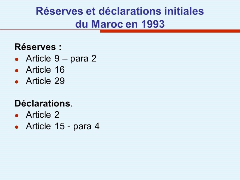 Réserves et déclarations initiales du Maroc en 1993