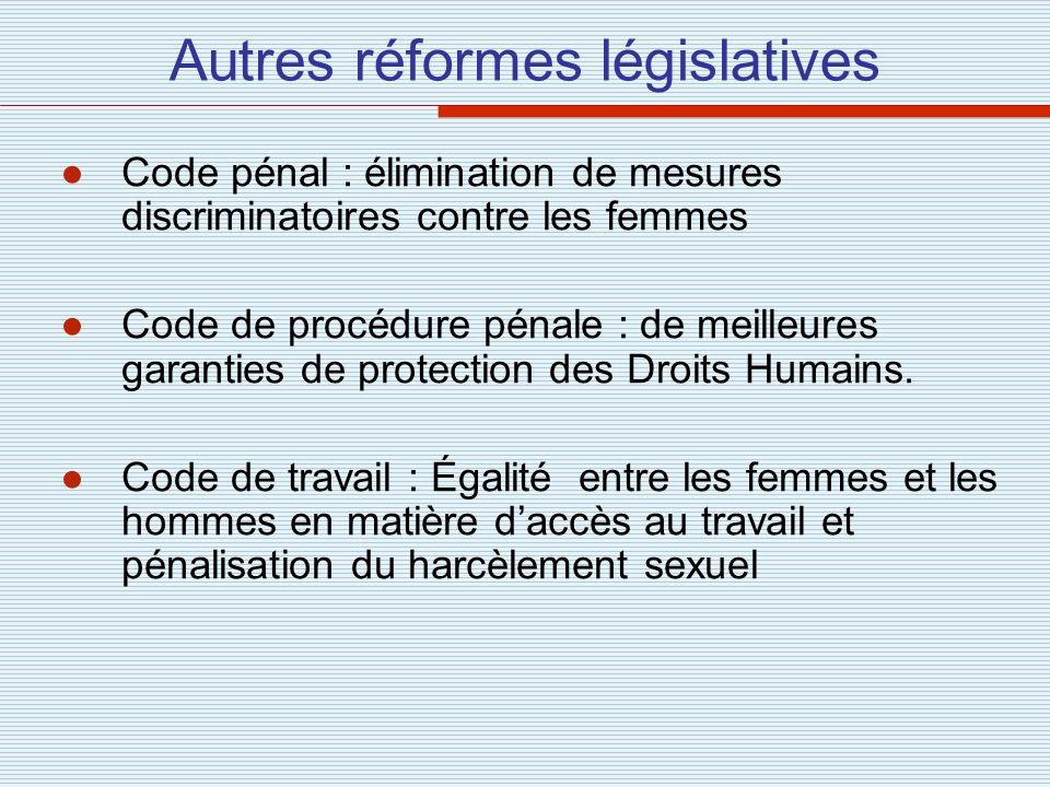 Autres réformes législatives