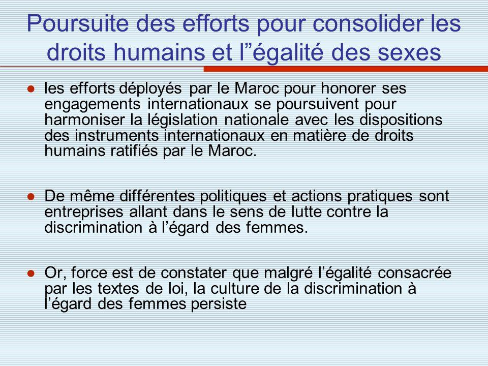 Poursuite des efforts pour consolider les droits humains et l égalité des sexes