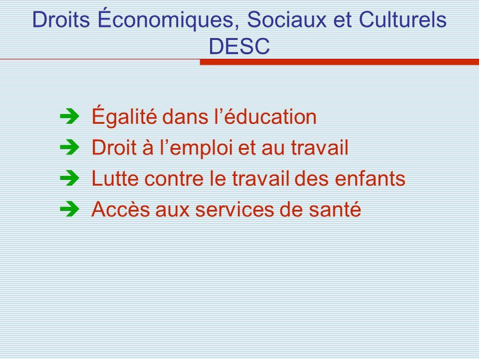 Droits Économiques, Sociaux et Culturels DESC