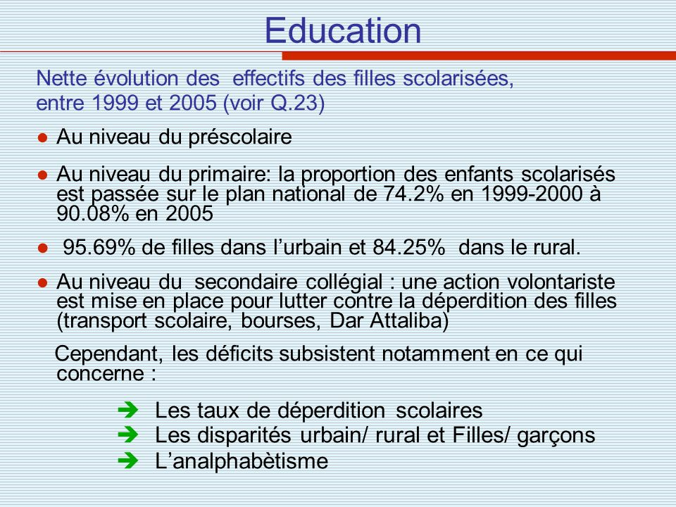 Education 95.69% de filles dans l'urbain et 84.25% dans le rural.