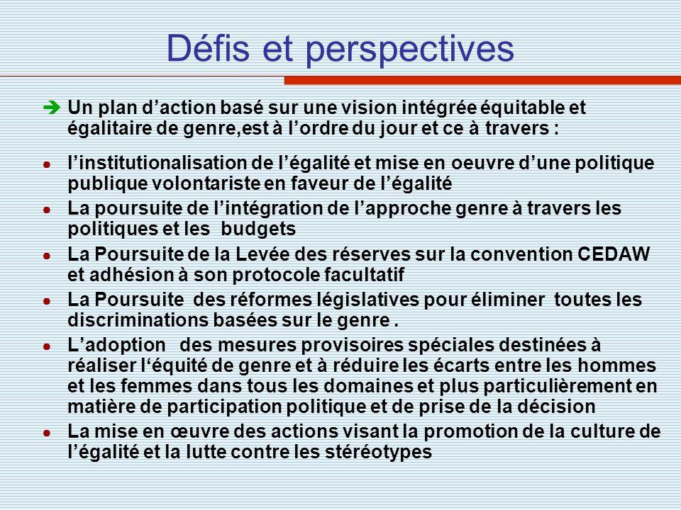 Défis et perspectivesUn plan d'action basé sur une vision intégrée équitable et égalitaire de genre,est à l'ordre du jour et ce à travers :
