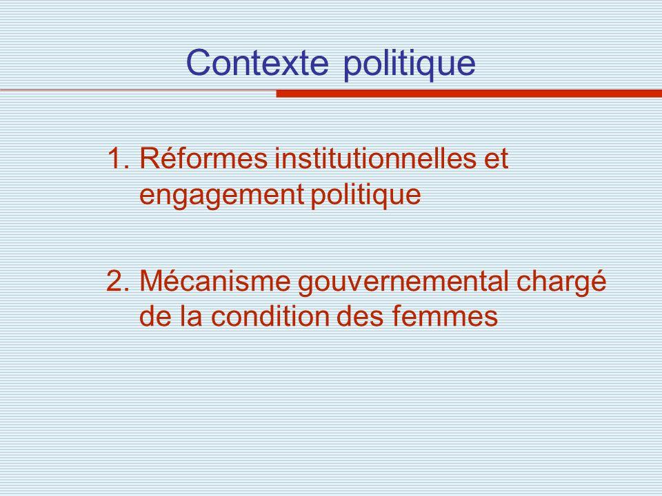 Contexte politique Réformes institutionnelles et engagement politique