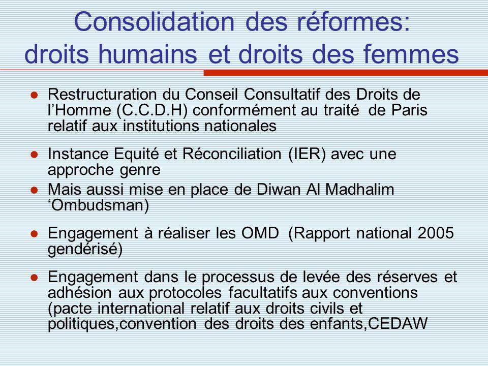 Consolidation des réformes: droits humains et droits des femmes