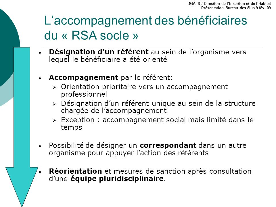 L'accompagnement des bénéficiaires du « RSA socle »