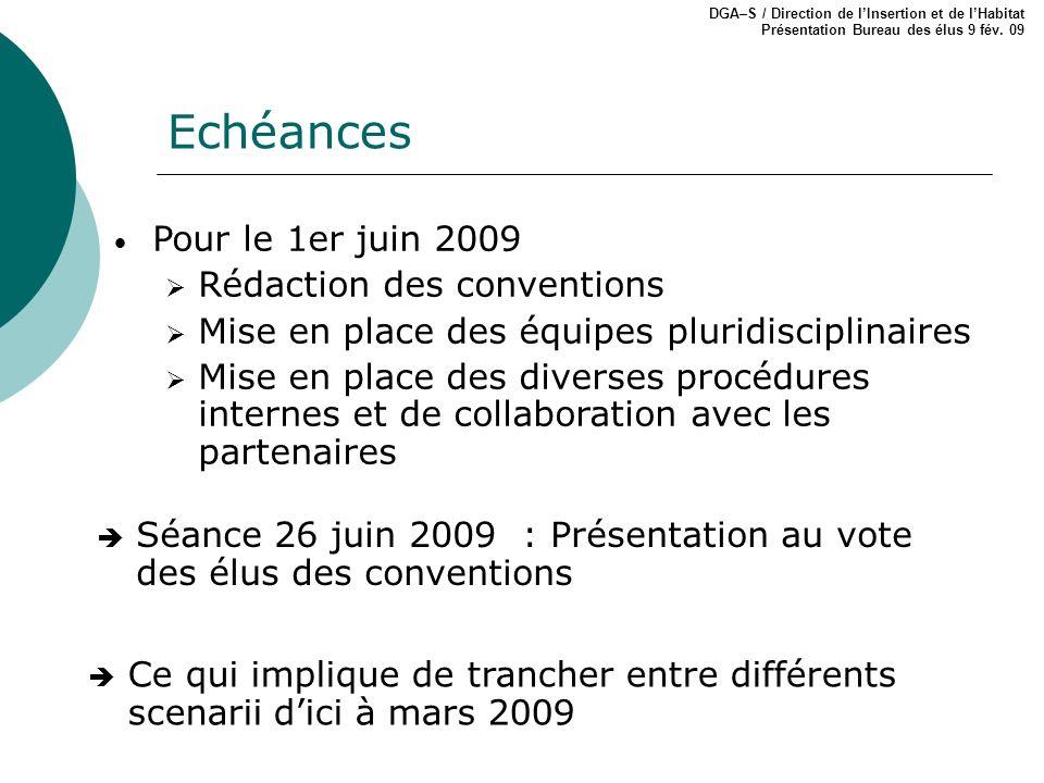 Echéances Pour le 1er juin 2009 Rédaction des conventions