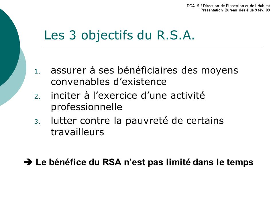 DGA–S / Direction de l'Insertion et de l'Habitat