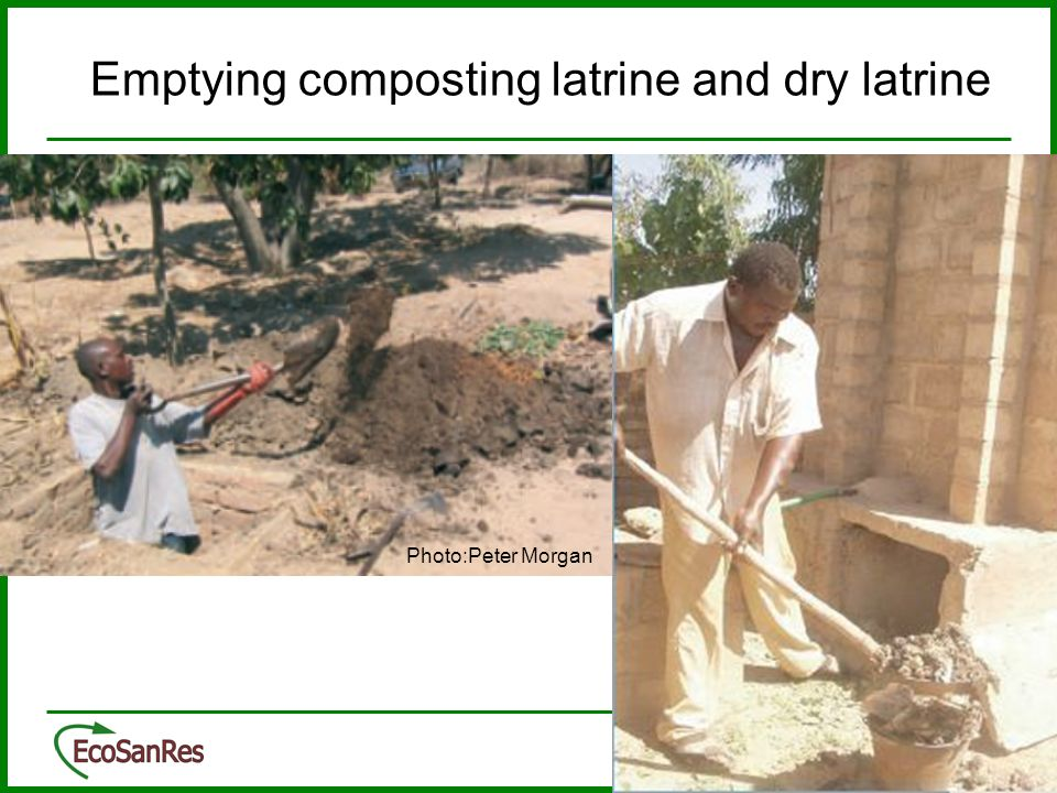 Emptying composting latrine and dry latrine
