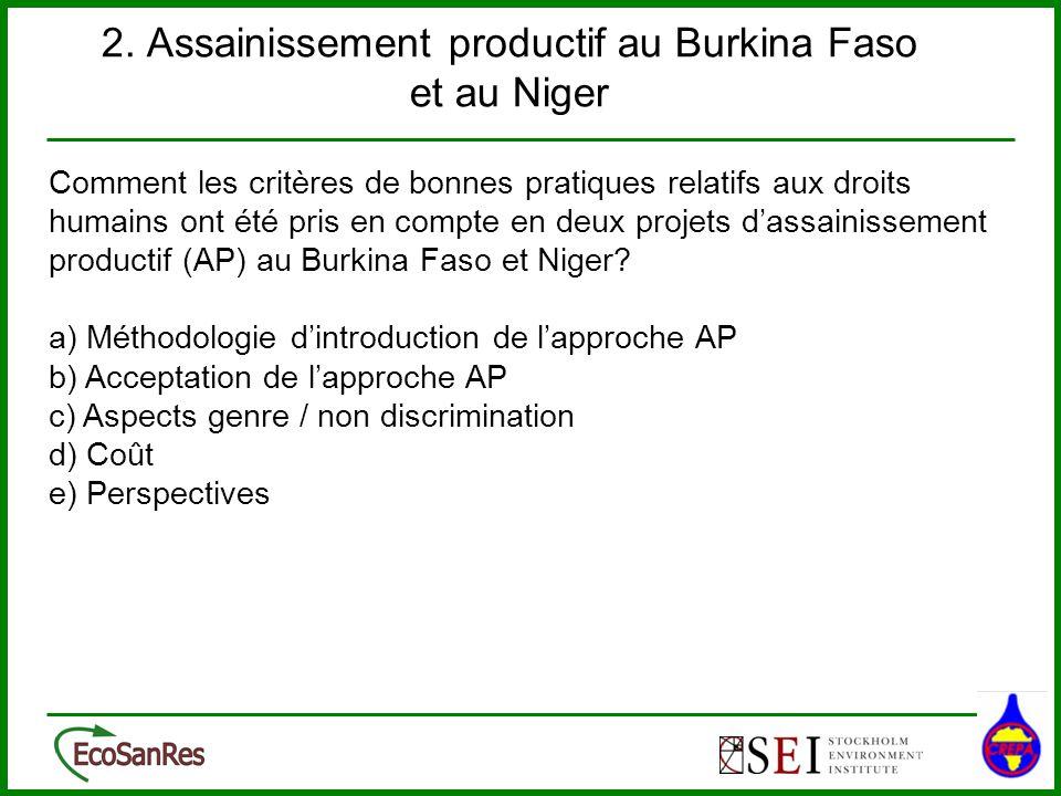 2. Assainissement productif au Burkina Faso et au Niger