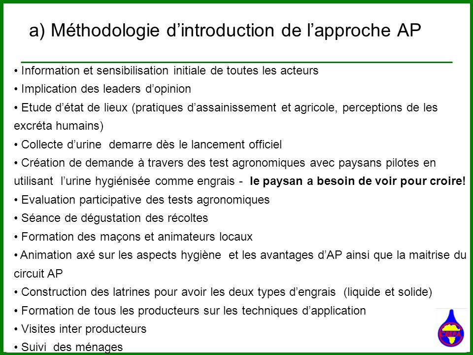 a) Méthodologie d'introduction de l'approche AP