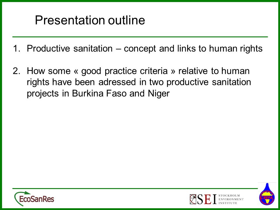 26/03/2017 Presentation outline. 1. Productive sanitation – concept and links to human rights.
