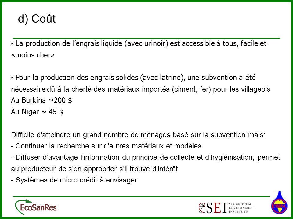 d) Coût La production de l'engrais liquide (avec urinoir) est accessible à tous, facile et «moins cher»