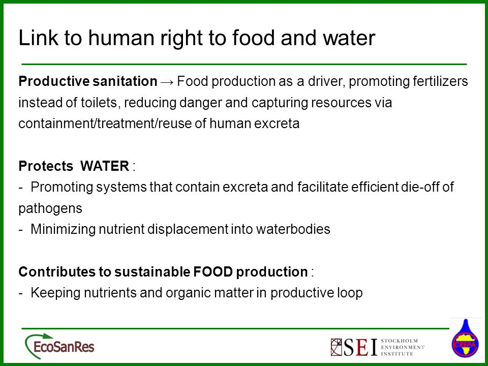 Link to human right to food and water