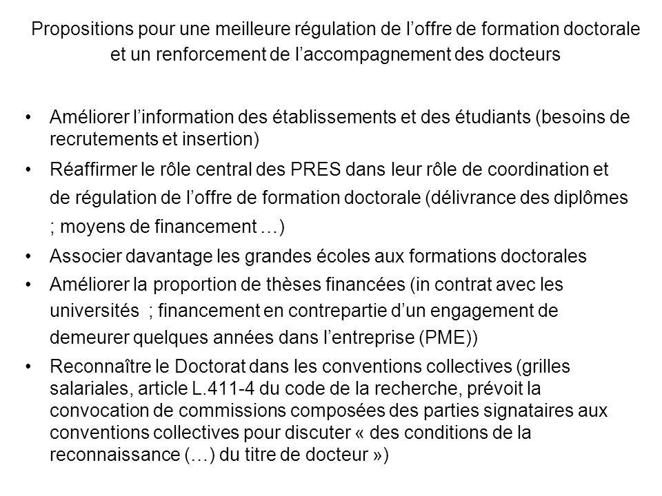 Propositions pour une meilleure régulation de l'offre de formation doctorale et un renforcement de l'accompagnement des docteurs
