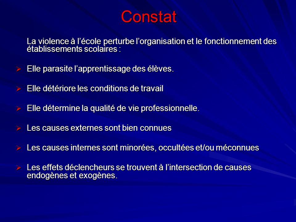 Constat La violence à l'école perturbe l'organisation et le fonctionnement des établissements scolaires :