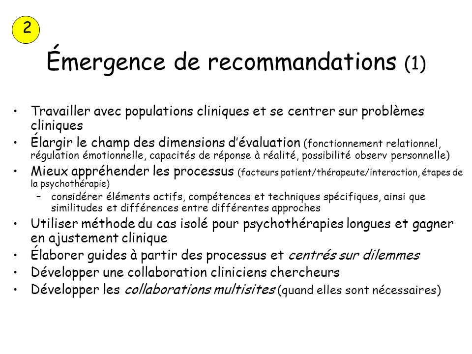 Émergence de recommandations (1)