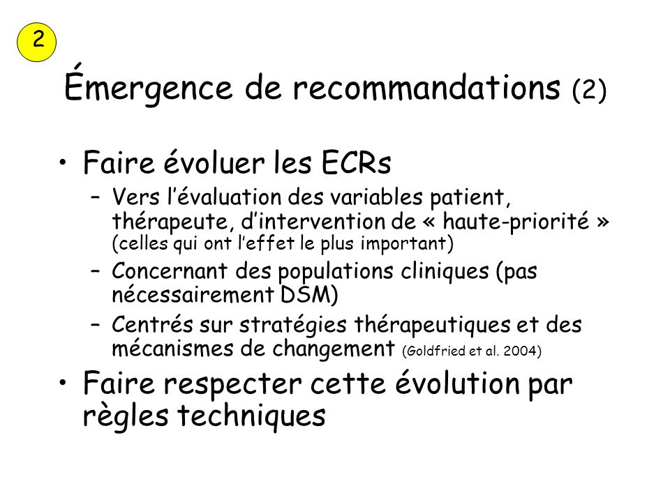 Émergence de recommandations (2)