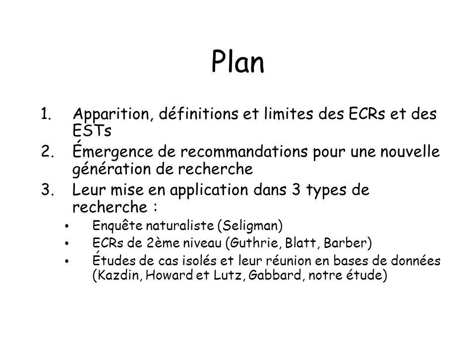 Plan Apparition, définitions et limites des ECRs et des ESTs