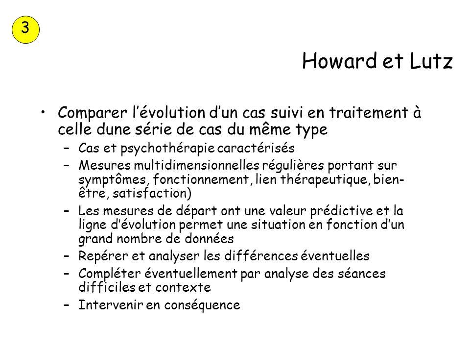 3Howard et Lutz. Comparer l'évolution d'un cas suivi en traitement à celle dune série de cas du même type.
