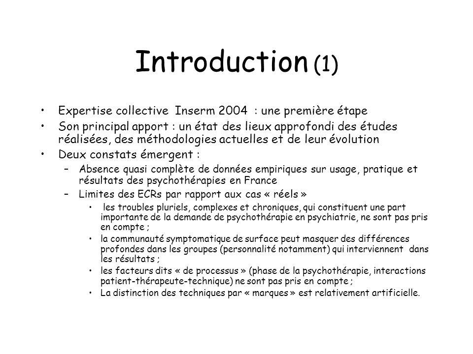 Introduction (1) Expertise collective Inserm 2004 : une première étape