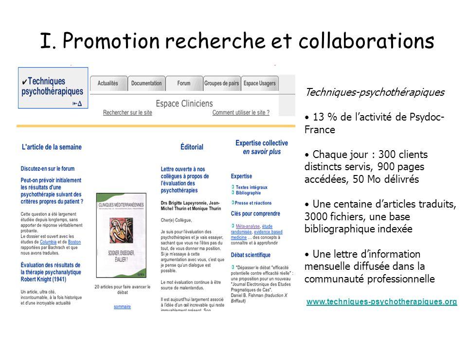 I. Promotion recherche et collaborations