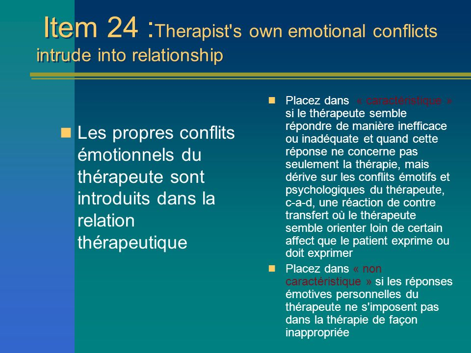 Item 24 :Therapist s own emotional conflicts intrude into relationship