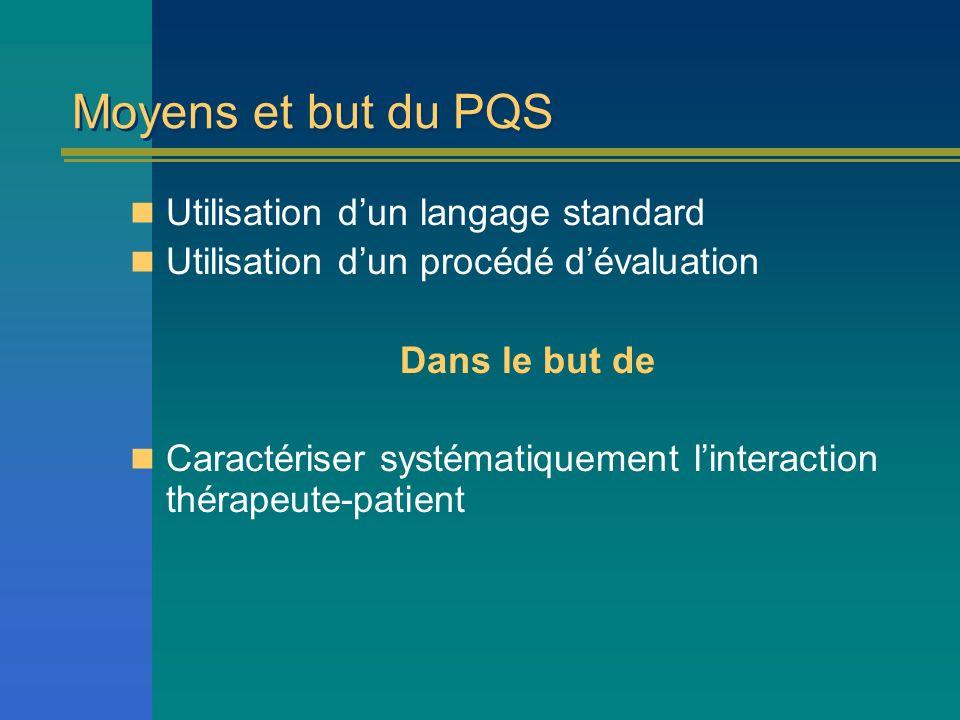 Moyens et but du PQS Utilisation d'un langage standard