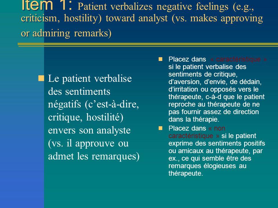 Item 1: Patient verbalizes negative feelings (e. g