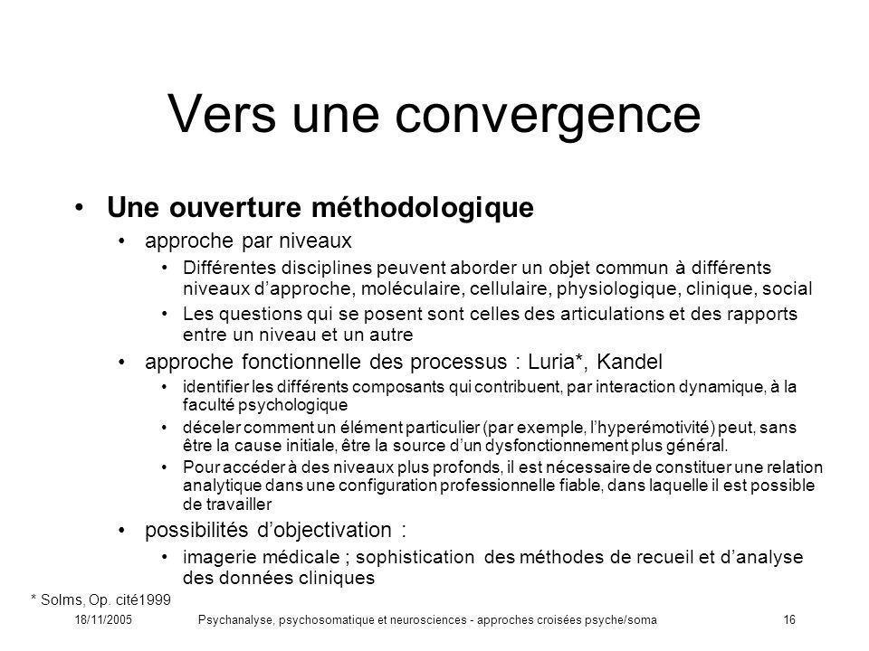 Vers une convergence Une ouverture méthodologique approche par niveaux