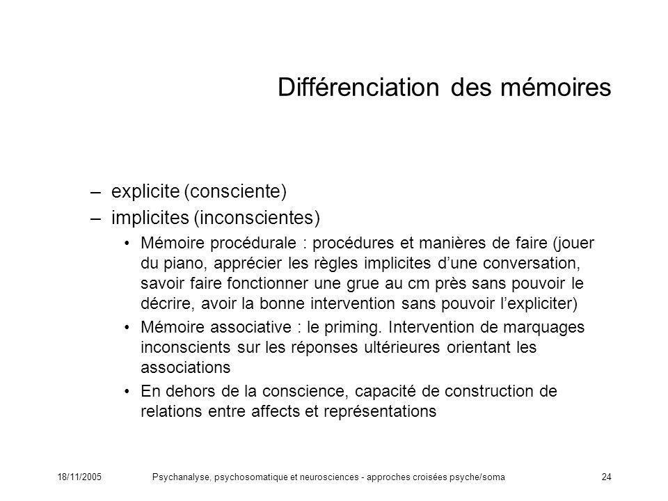 Différenciation des mémoires
