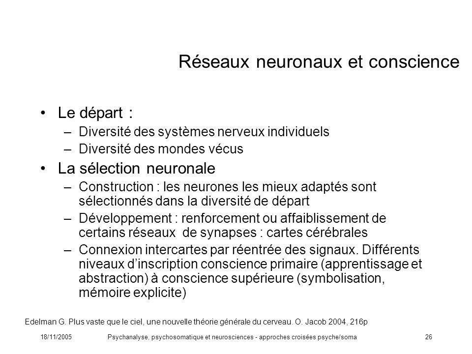 Réseaux neuronaux et conscience