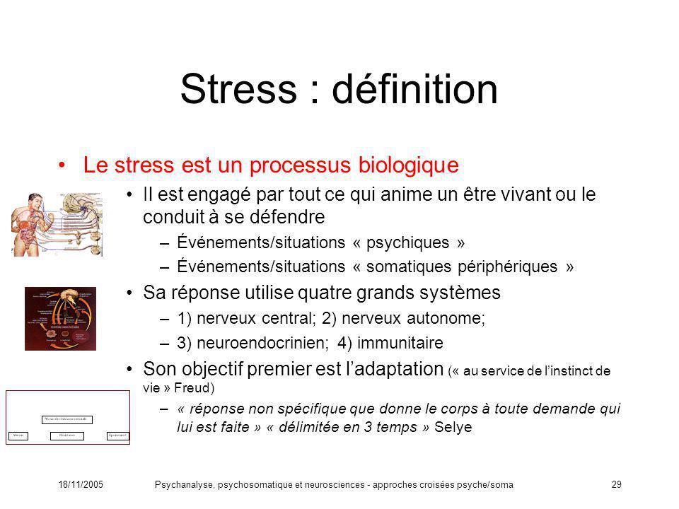Stress : définition Le stress est un processus biologique