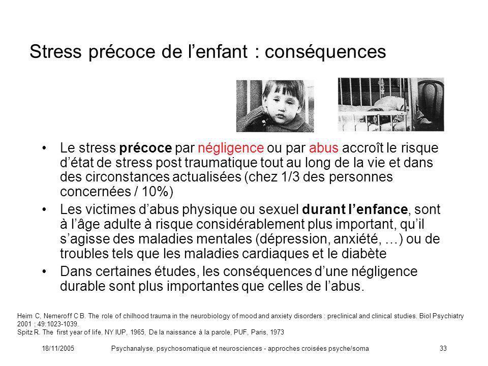 Stress précoce de l'enfant : conséquences