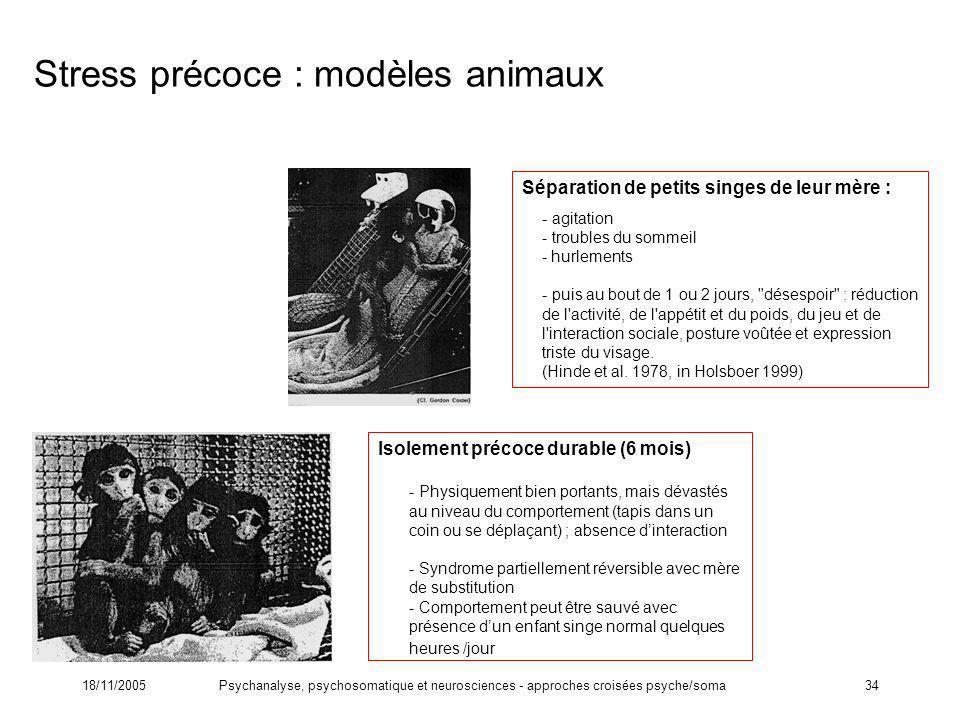 Stress précoce : modèles animaux