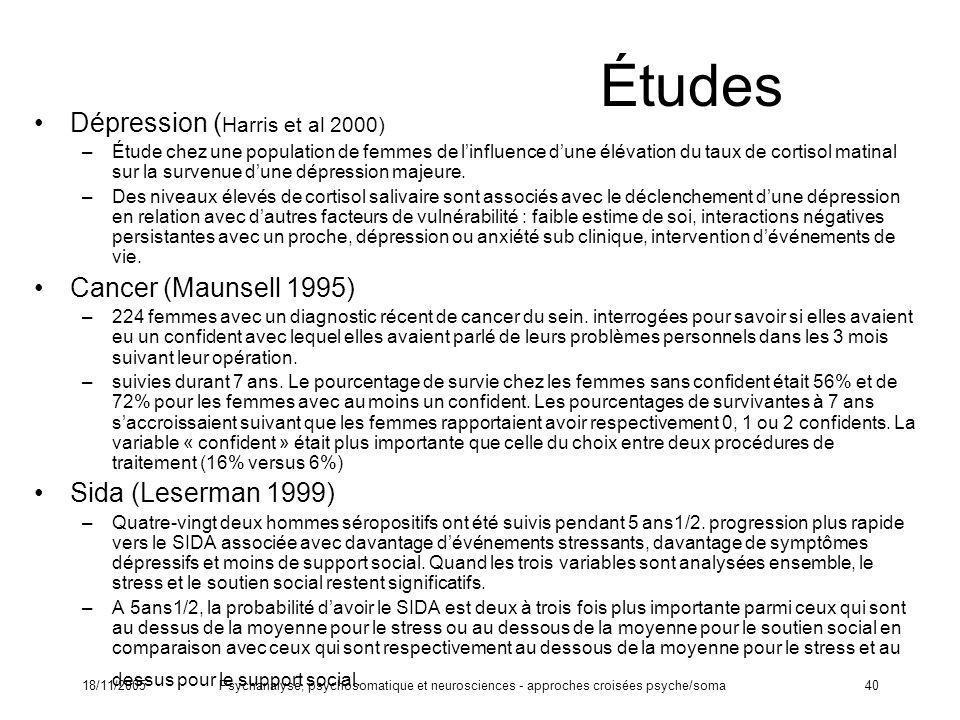 Études Dépression (Harris et al 2000) Cancer (Maunsell 1995)