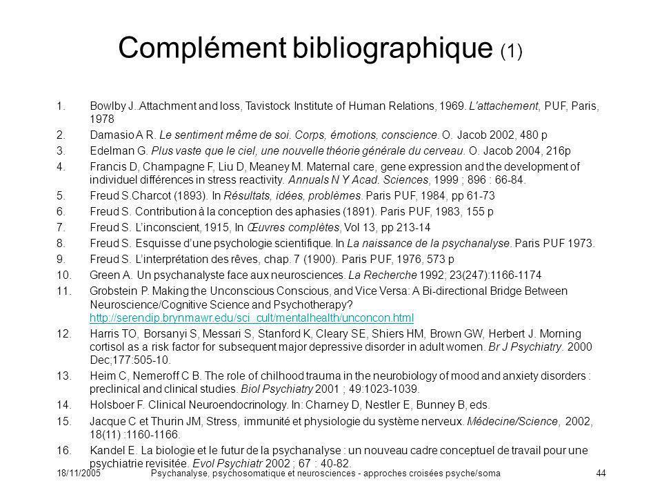 Complément bibliographique (1)