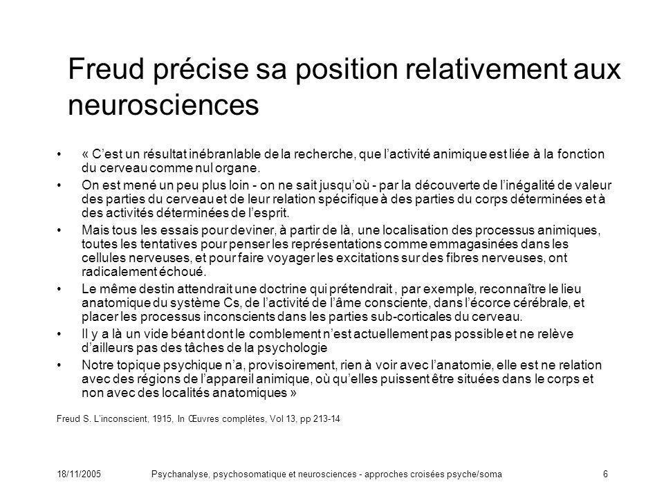 Freud précise sa position relativement aux neurosciences
